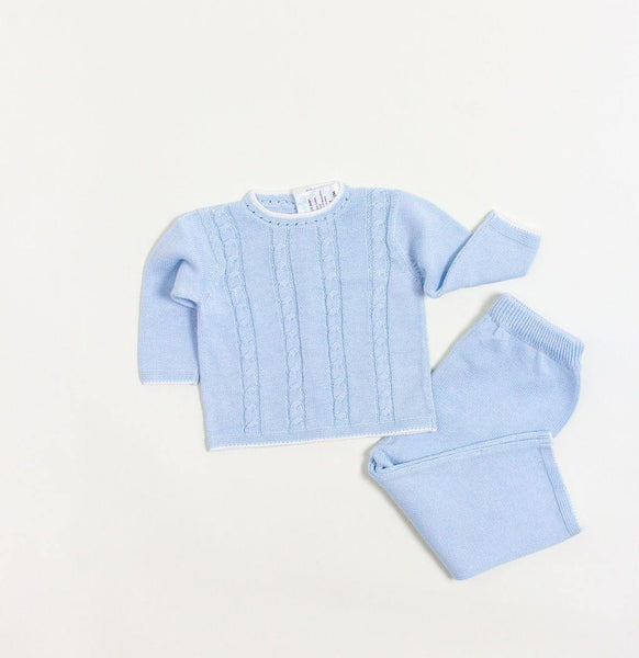 Blue Cable Sweater Pant Set