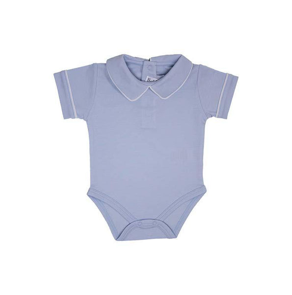 Pointed Collar Short Sleeve Onesie - Lt. Blue