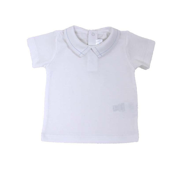Pointed Collar Short Sleeve Shirt - White