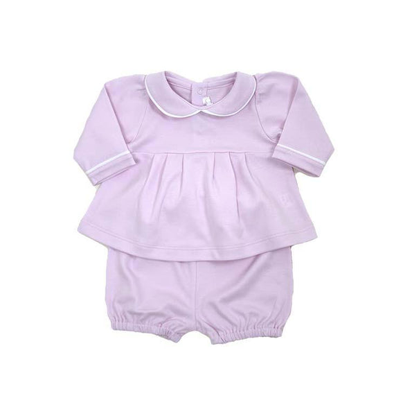 Long Sleeve Swing Top and Short Set - Pink