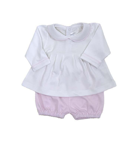 Long Sleeve Swing Top and Short Set - White Top, Pink Striped Short