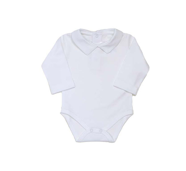 Pointed Collar Long Sleeve Onesie - White