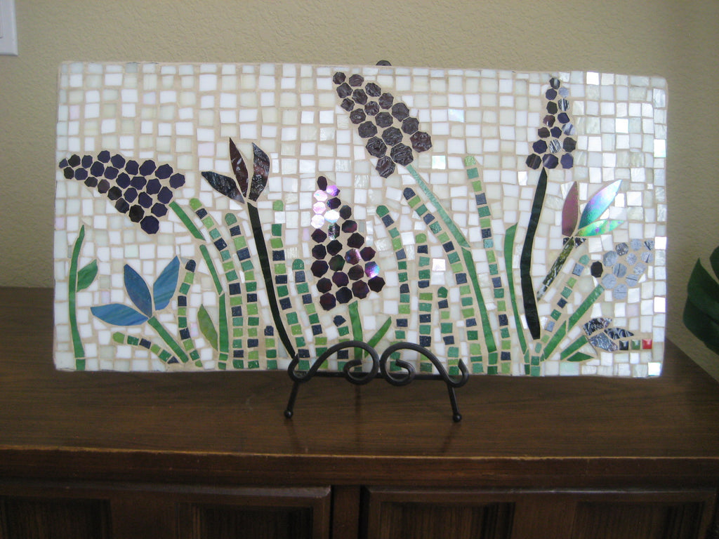 Outdoor Mosaic Tile Purple Floral