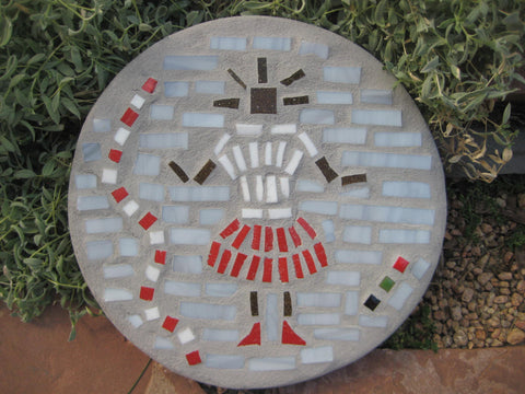 "Baby Girl Red & White - Round 12"" Mosaic Paver"