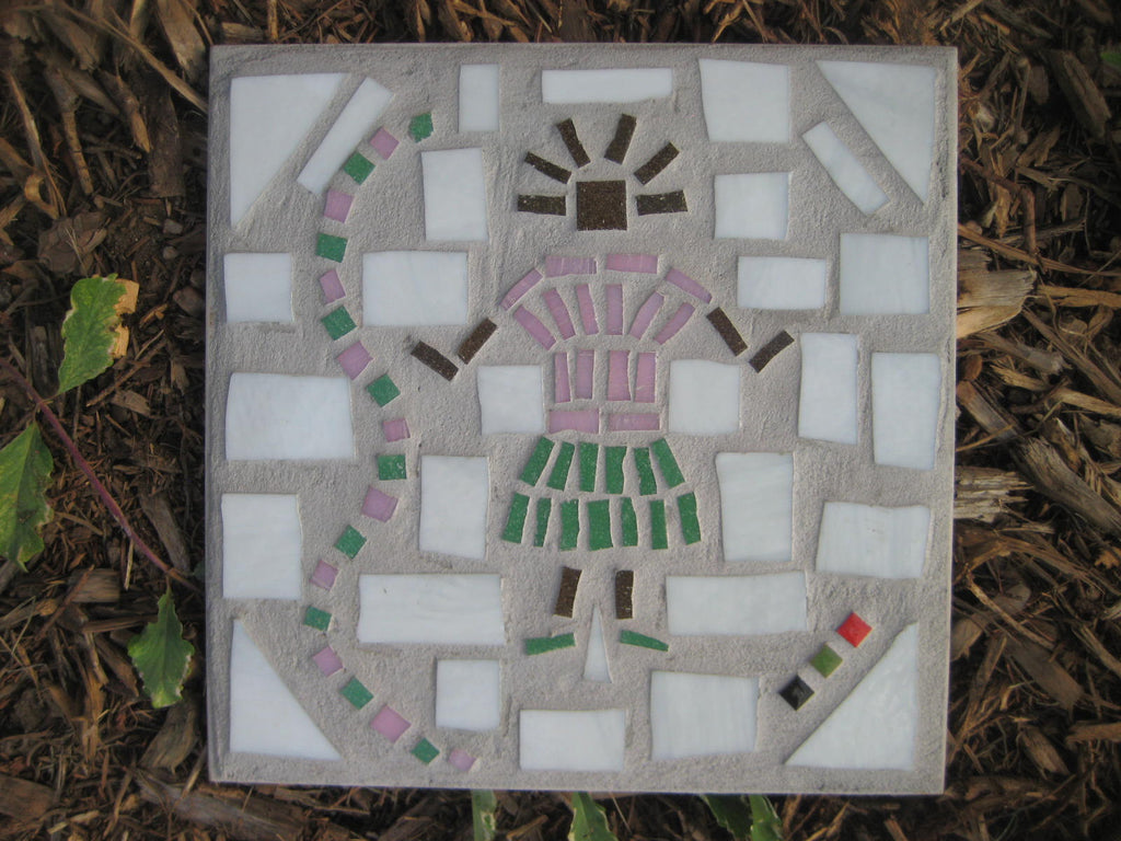 Pink & Green Tile Art - Baby Girl on Gray