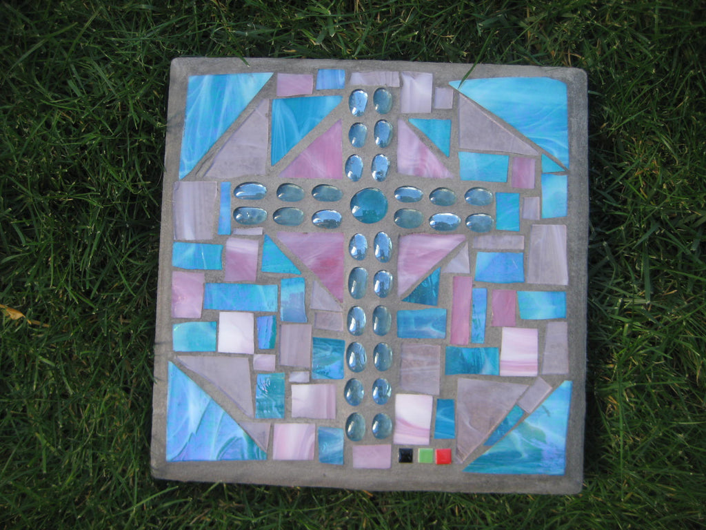 Patio Stone - Blue Cross on Pink and Blue