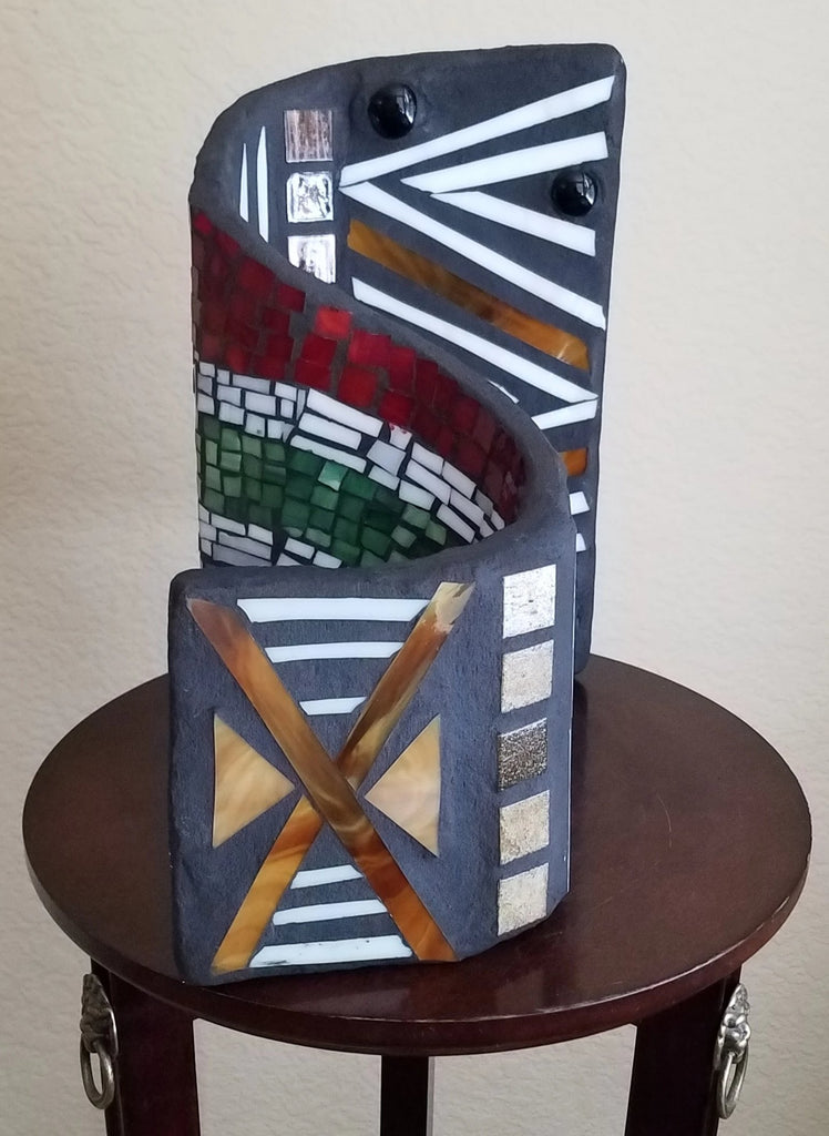3-D Sculpture South Africa Flag and African Mud Cloth