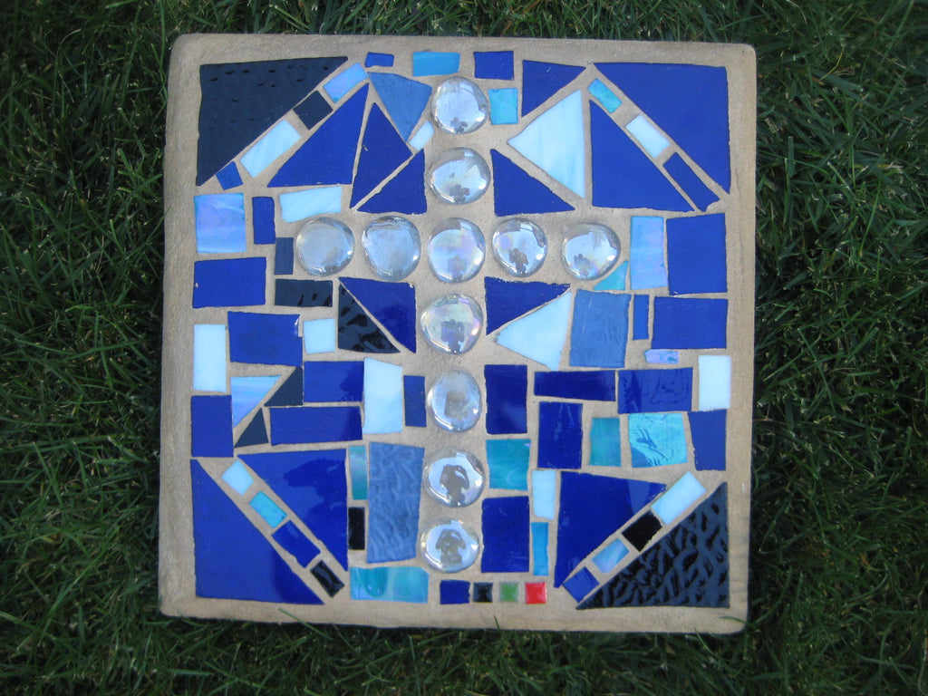 Glass Mosaic Paver - Mixed Blue with Clear Cross