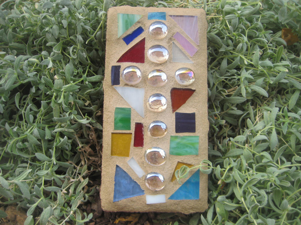 Multi Stained Glass Mosaic Brick<br> Clear Gem Glass Cross