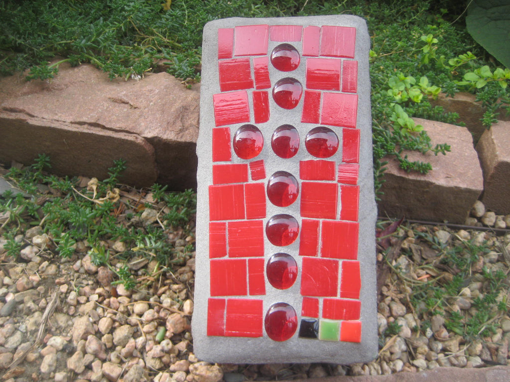 Backyard Tiles - Cross of Red Brick, with Red Stained Glass