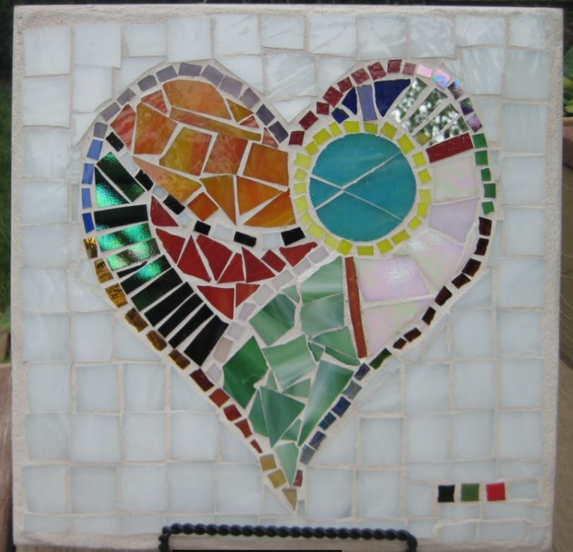 Stained Glass Mosaic Heart Porcelain Tile