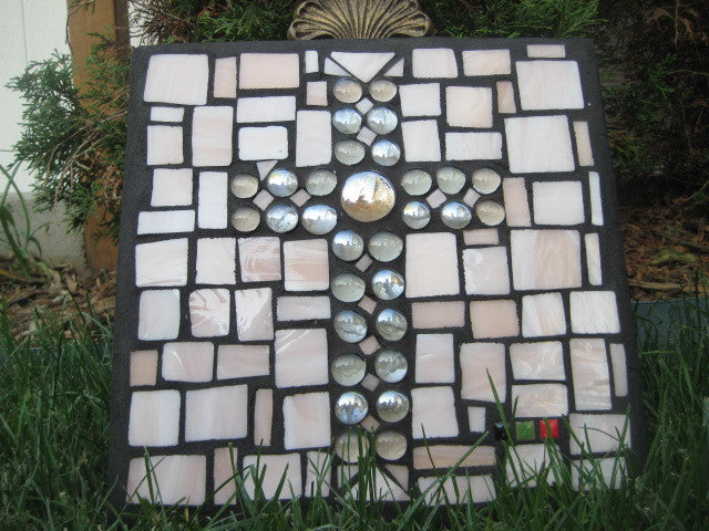Stained Glass Mosaic - Peach Color with Frosted and Clear Glass Gem Cross