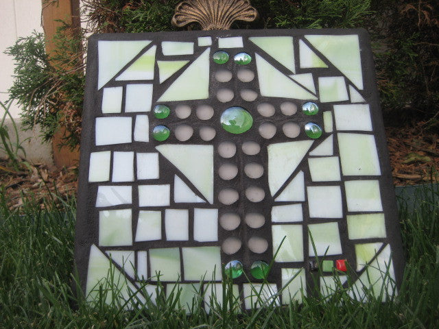 White Frosted and Seafoam Green Cross Stained Glass Lawn Art