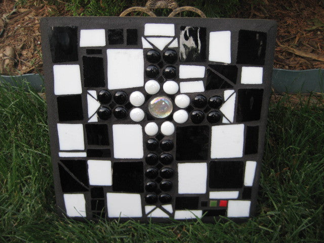 Black & White Checkered Cement Pavers with White Frosted Cross