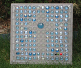 Mosaic Patio Stone Cross with Frosted Glass Gems