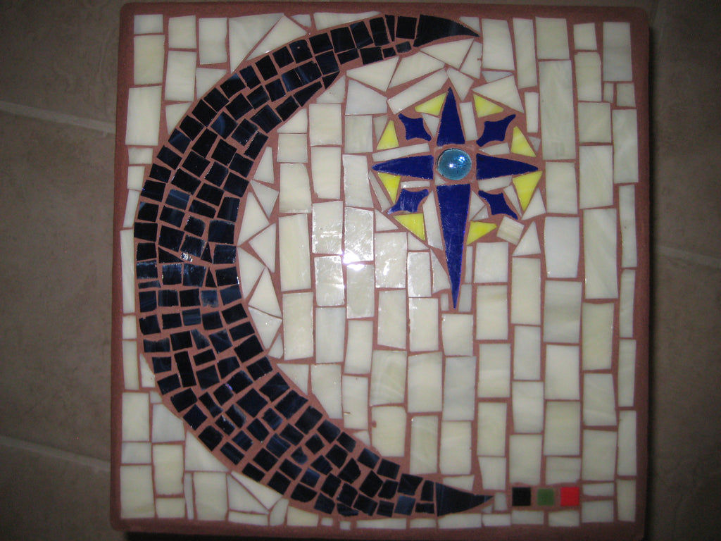 COMMISSIONED. Mosaic Paver Moon & Star