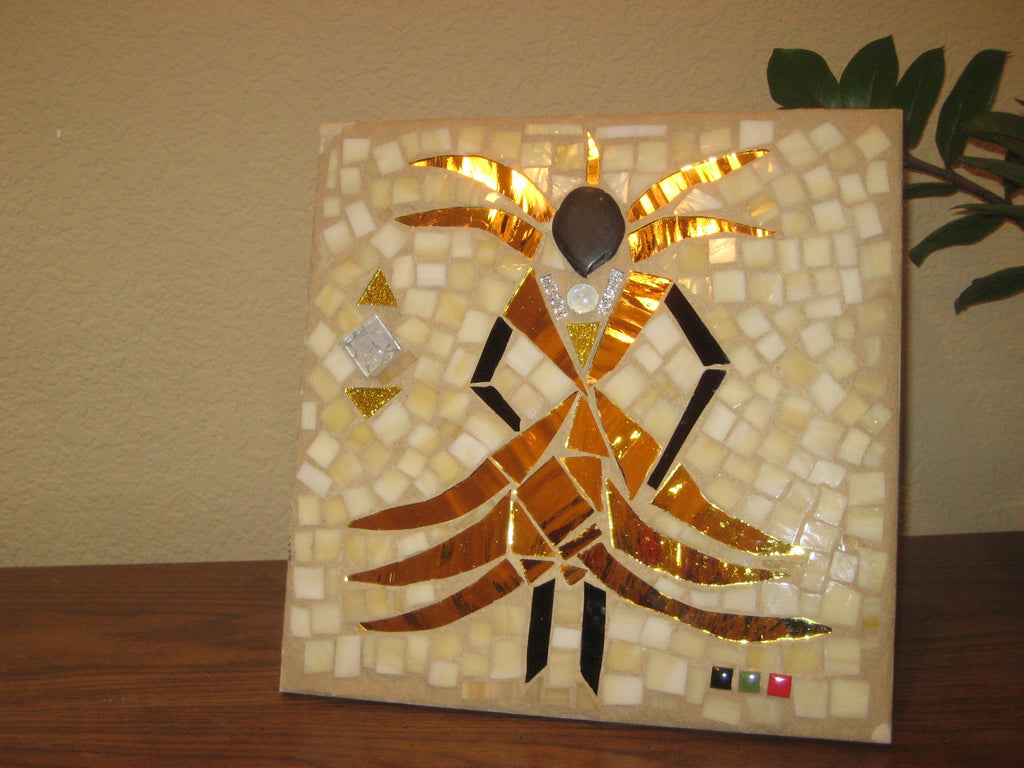 COMMISSIONED. Fly Girl Gold - Porcelain Tile with Gold Mosaic