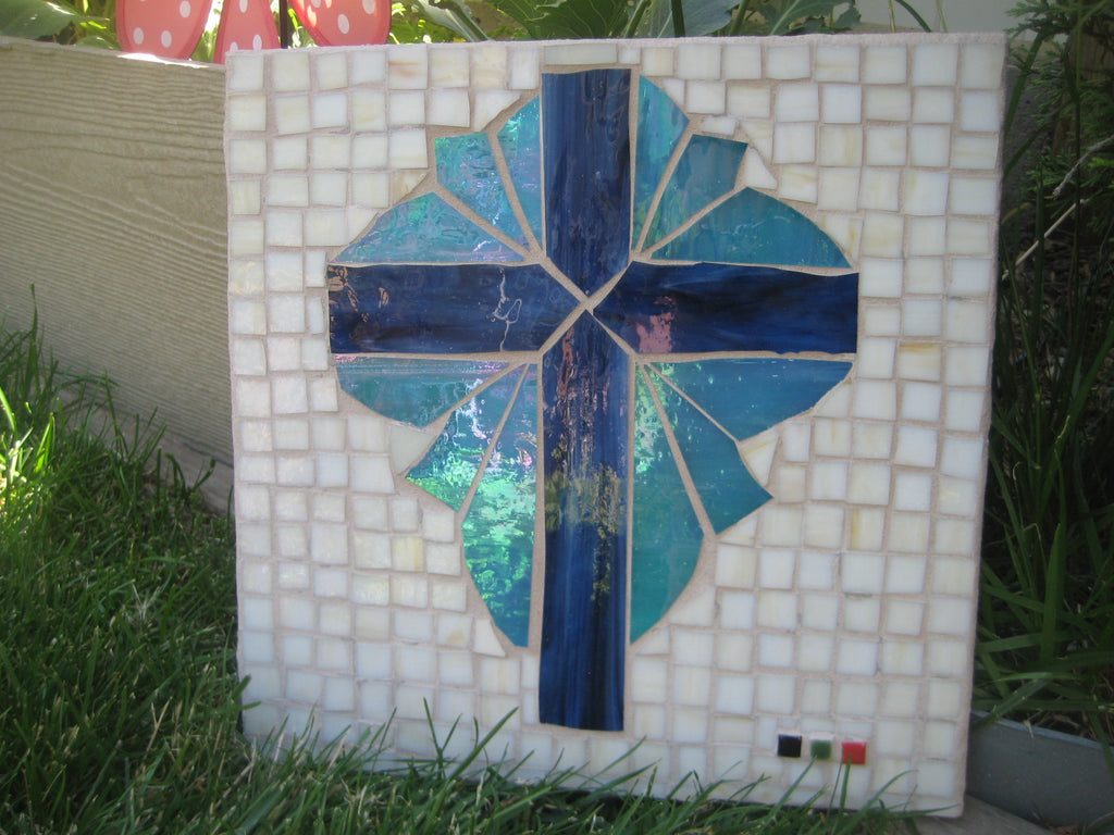 "Blue Mosaic Cross ""Light of the World"""