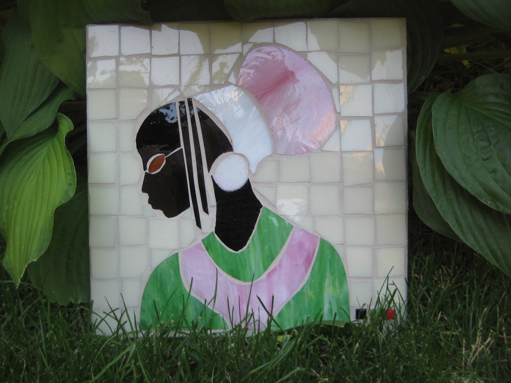 Mosaic Outdoor Art Pink & Green Princess