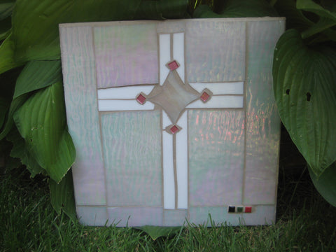 "Mosaic White Cross ""The King is Coming"""