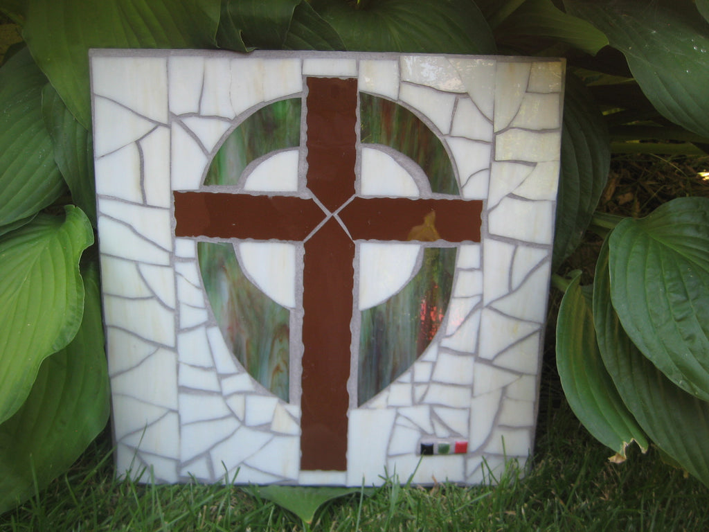"Brown Mosaic Cross ""The Old Rugged Cross"""