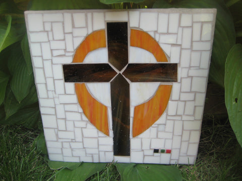 """The Old Rugged Cross"" Rustic Orange Mosaic Cross"