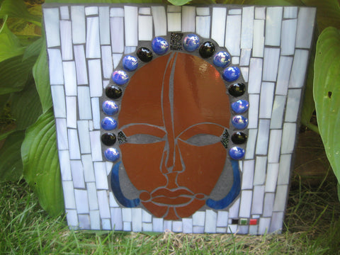 African Male Mask Purple Outdoor Mosaic