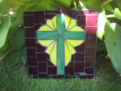 "Green and Yellow Mosaic Cross ""Light of the World"""