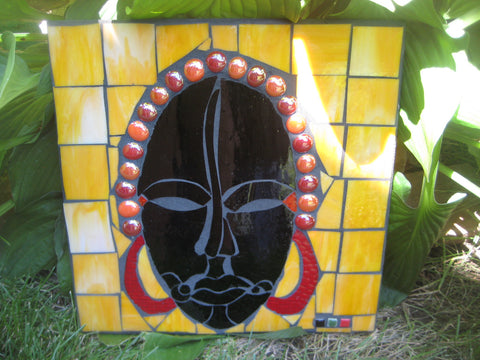 Mosaic Outdoor Tile Gold African Mask
