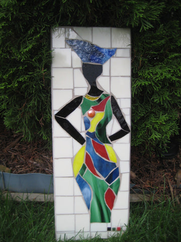 Mosaic Tile Ghana Woman Outdoor Decor