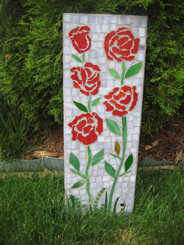 Mosaic Outdoor Decor Red Roses