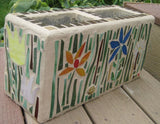 Four Petal White Cinder Block Flower Planter