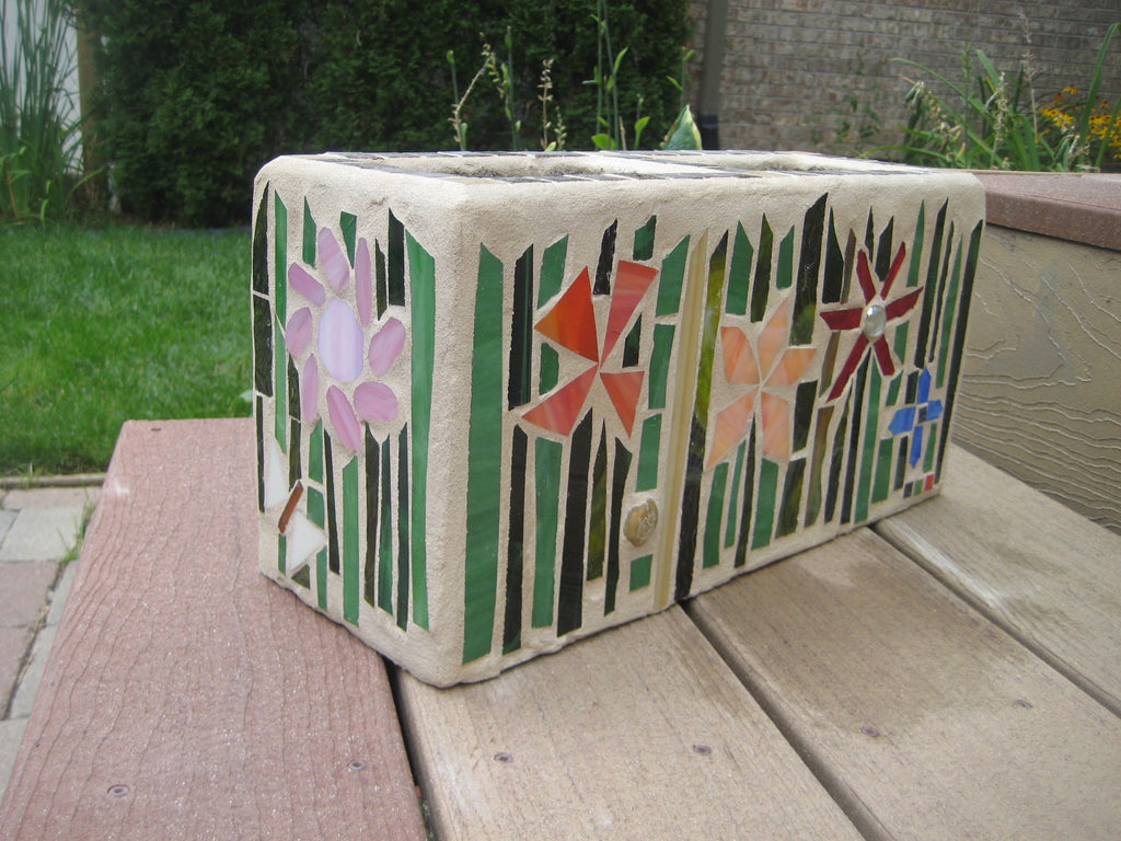 Cinder Block Planter Fall Mosaic