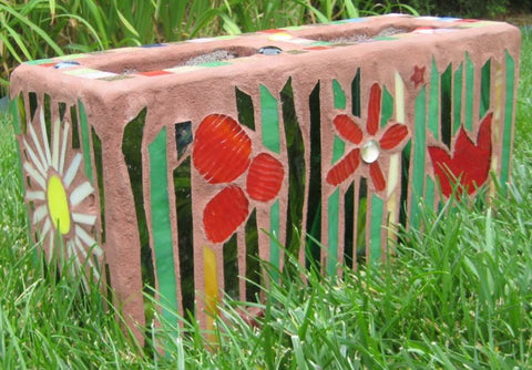 Cinder Block Red Sunflower Planter