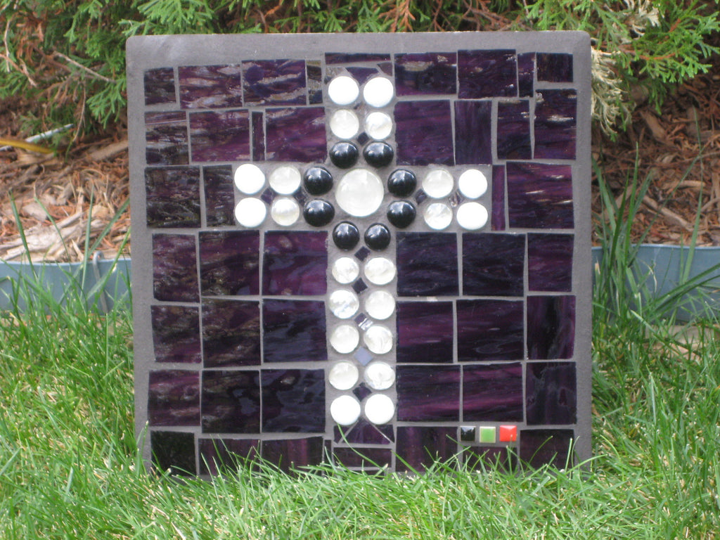 Concrete Paver - White & Black Cross Purple Stained Glass