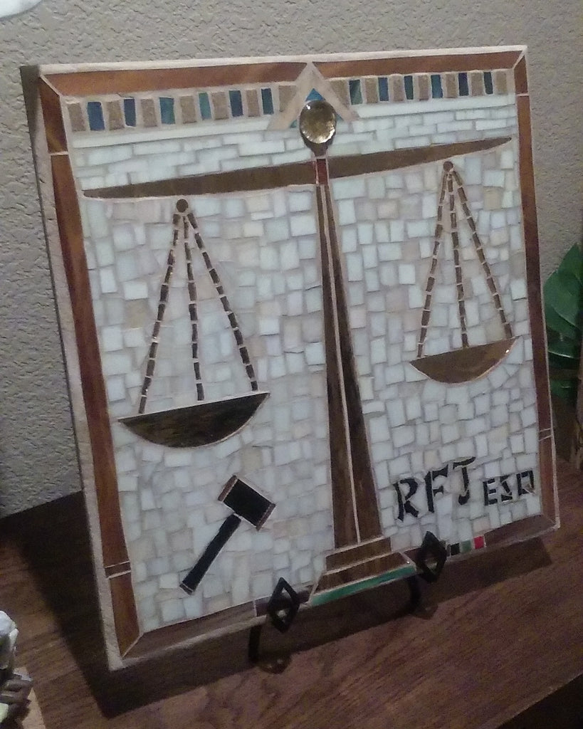 COMMISSIONED. Backyard Tiles – Scales of Justice, with Beige Stained Glass Background