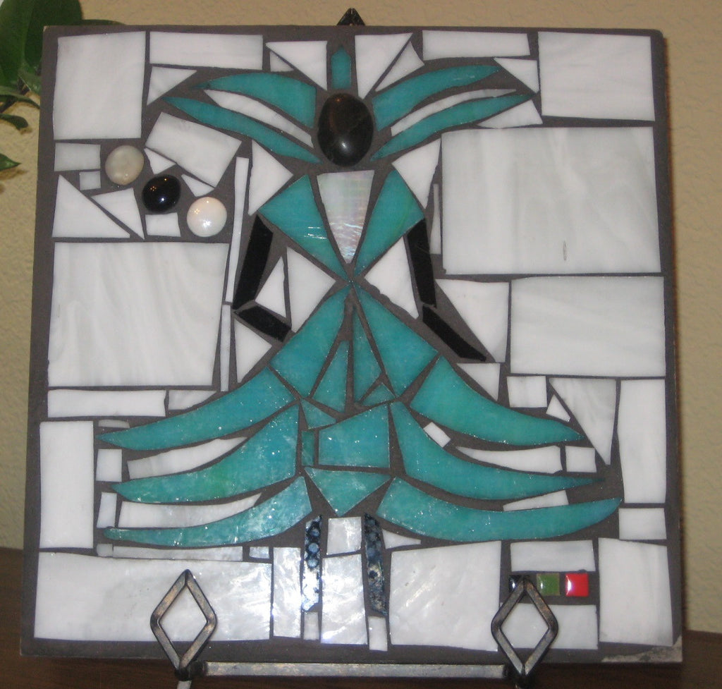 Fly Girl in Teal - Outdoor Tile for Patio