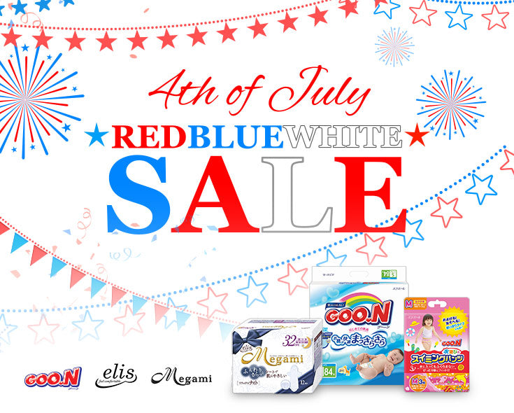 4th of July - Red, Blue, White Sale! GOO.N Baby Diaper, elis & Megami Sanitary Pads on Sale!