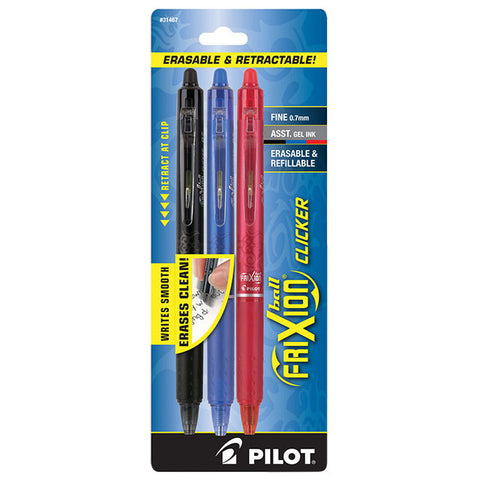 FRIXION BALL CLICKER - 3 pen/pk (Black, Blue, Red)