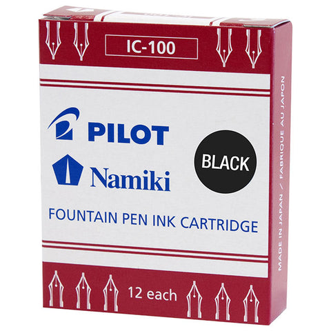 Namiki Fountain Ink Cartridge -12 crtrg/pk (Black Ink)