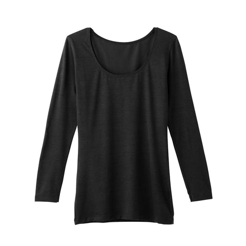 Gunze Body Warm: Women's Undershirts 8/10 Length Sleeve - Black