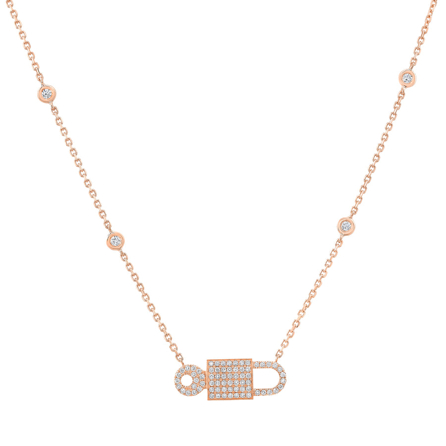Lock Necklace Bezel Diamond
