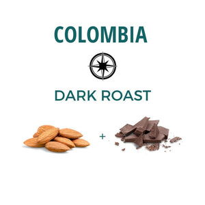 Colombia dark roast, nutty and cocoa notes