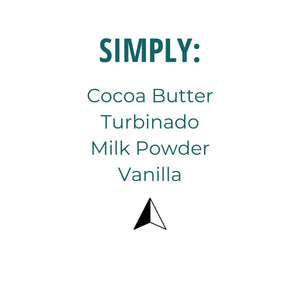 Listing of ingredients: Turbinado, cocoa butter, milk powder, vanilla