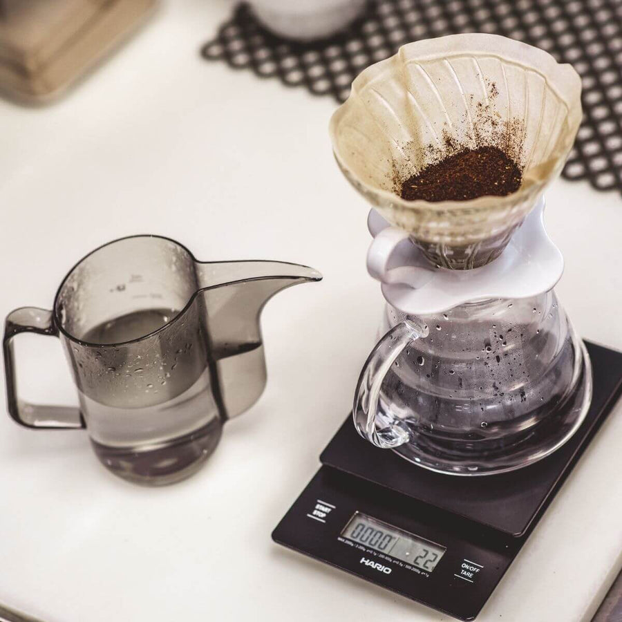 Scale styled with pour over accessories