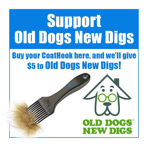 Old Dogs New Digs — CoatHook pet comb full of shedding fur