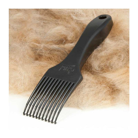 The CoatHook pet comb on a pile of deshedded dog fur