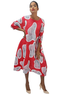 Red Abstract Print Dress