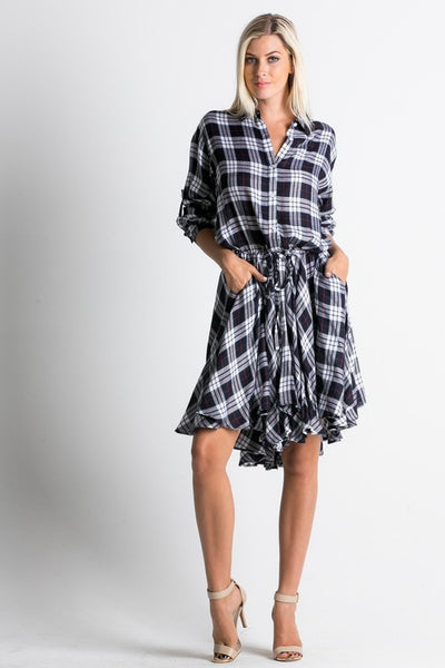 Plaid Pleated Dress/ D3081-R1