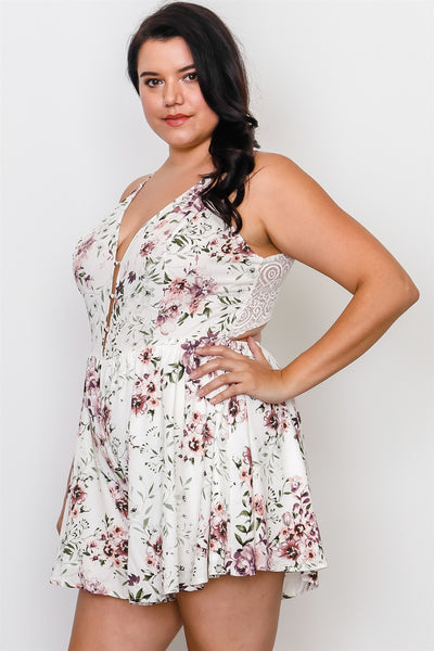 Plus Size Floral Print Lace Trim Cut Out Back Romper